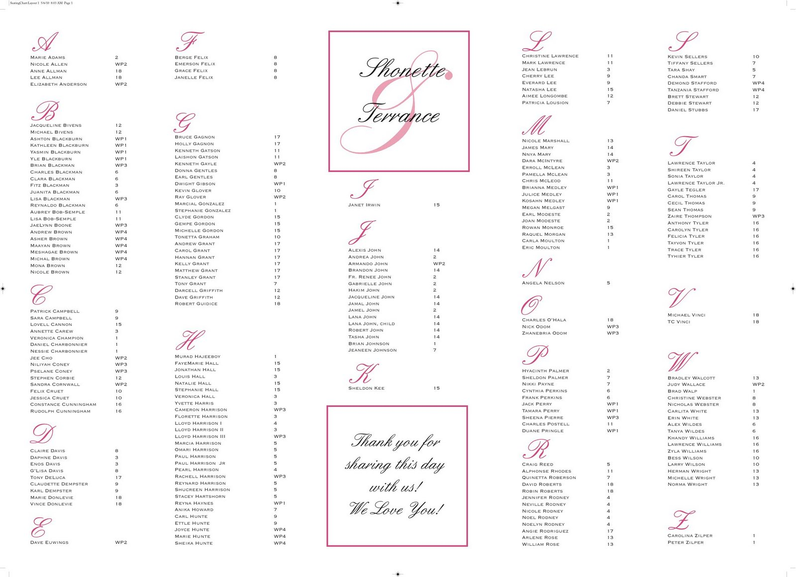 sample seating chart for wedding reception radiovkmtk - Free Printable Wedding Seating Chart Template