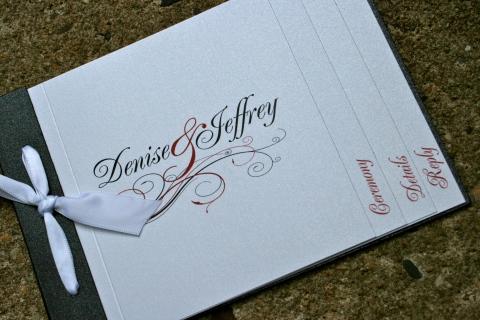 Black & Red Flourish Booklet Wedding Invitation